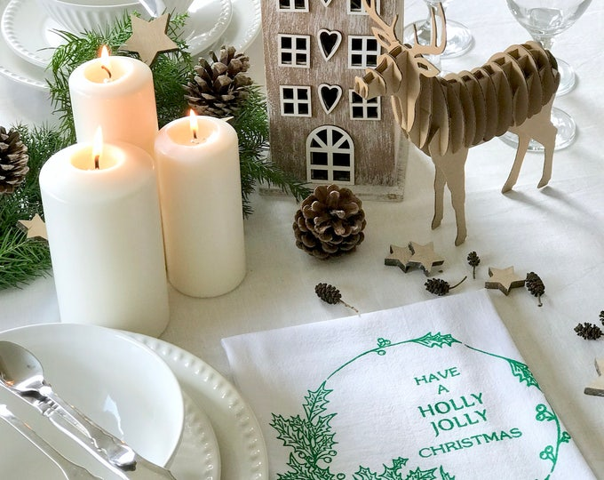 Holly - Set 4 Cotton Christmas Napkins