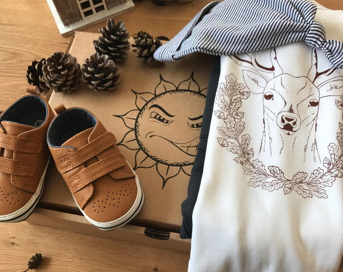 Deer With Acorns - Organic Baby Bodysuit