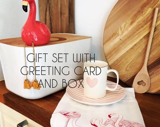 Flamingos Table Napkins, Tea Towel And Greeting Card - Gift Set