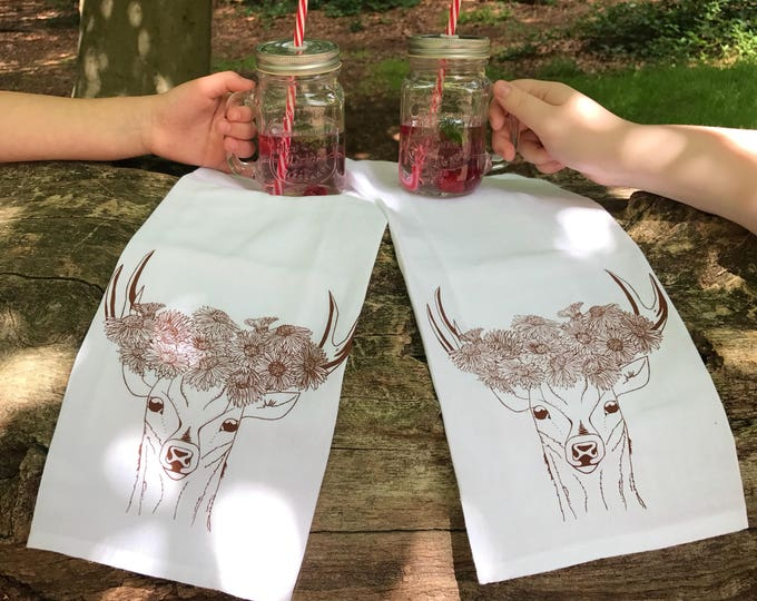 Deer With Flower Crown  - Kitchen And Dining Tea Towel