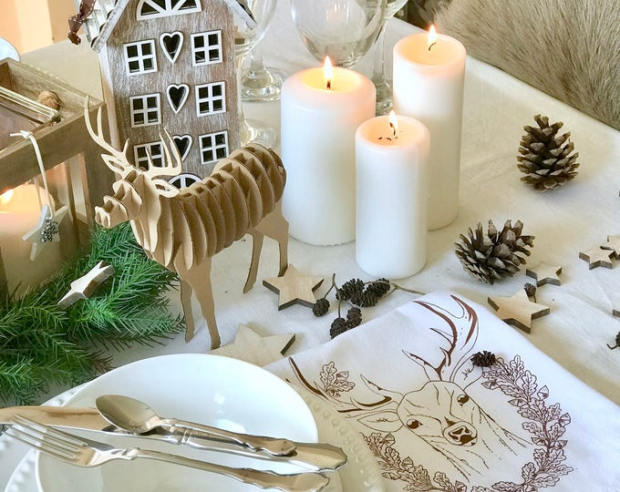 Christmas Deer  - Kitchen And Dining Cloth Napkins - Set of 4
