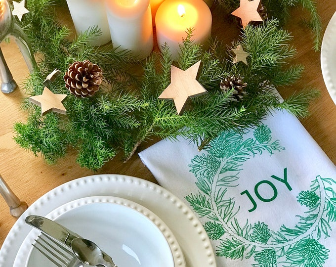 Pine tree branch - Set 4 Cotton Christmas Napkins