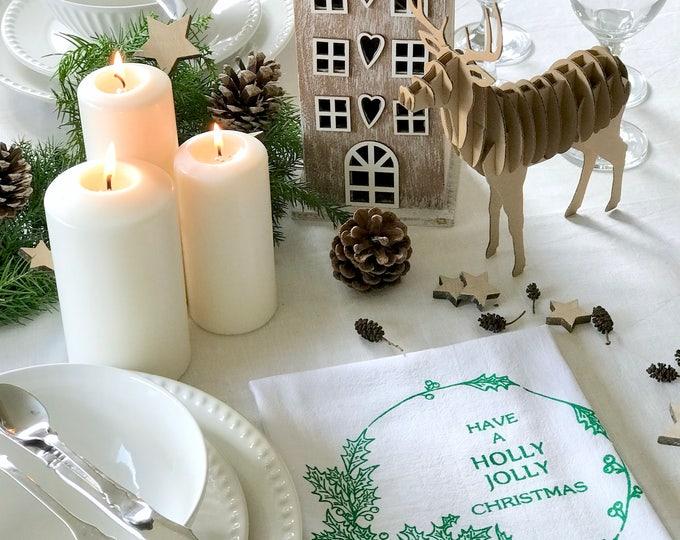 Holly - Set 4 Cotton Christmas Napkins