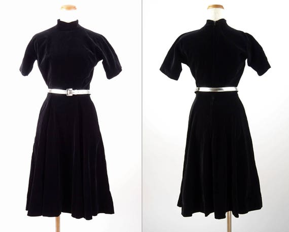 1950s Vintage Anne Fogarty / Short Sleeve Black Ve
