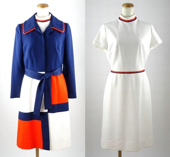 1960s Vintage Lilli Ann / Navy, Red, White Mondria