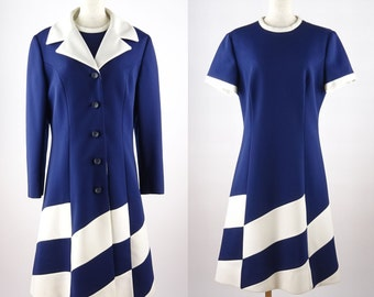 1960s Vintage Lilli Ann / Super Mode Pattern / Navy And White Polyester Dress & Coat - Execllent / Very Good