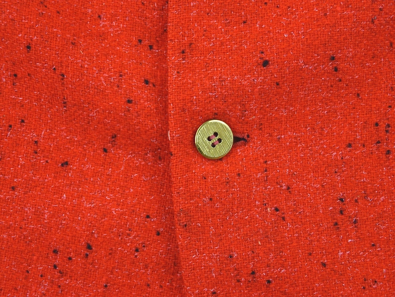 Excellent 1950s Vintage Galieote/'s Hollywood  Black /& White Atomic Fleck  Gold Metallic Button  Vivid RED Wool Sports Coat