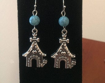 Doghouse and Turquoise Earrings