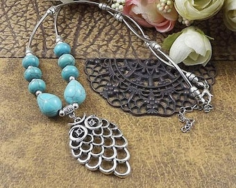 Tibetain Silver & Turquoise Beaded Owl Necklace