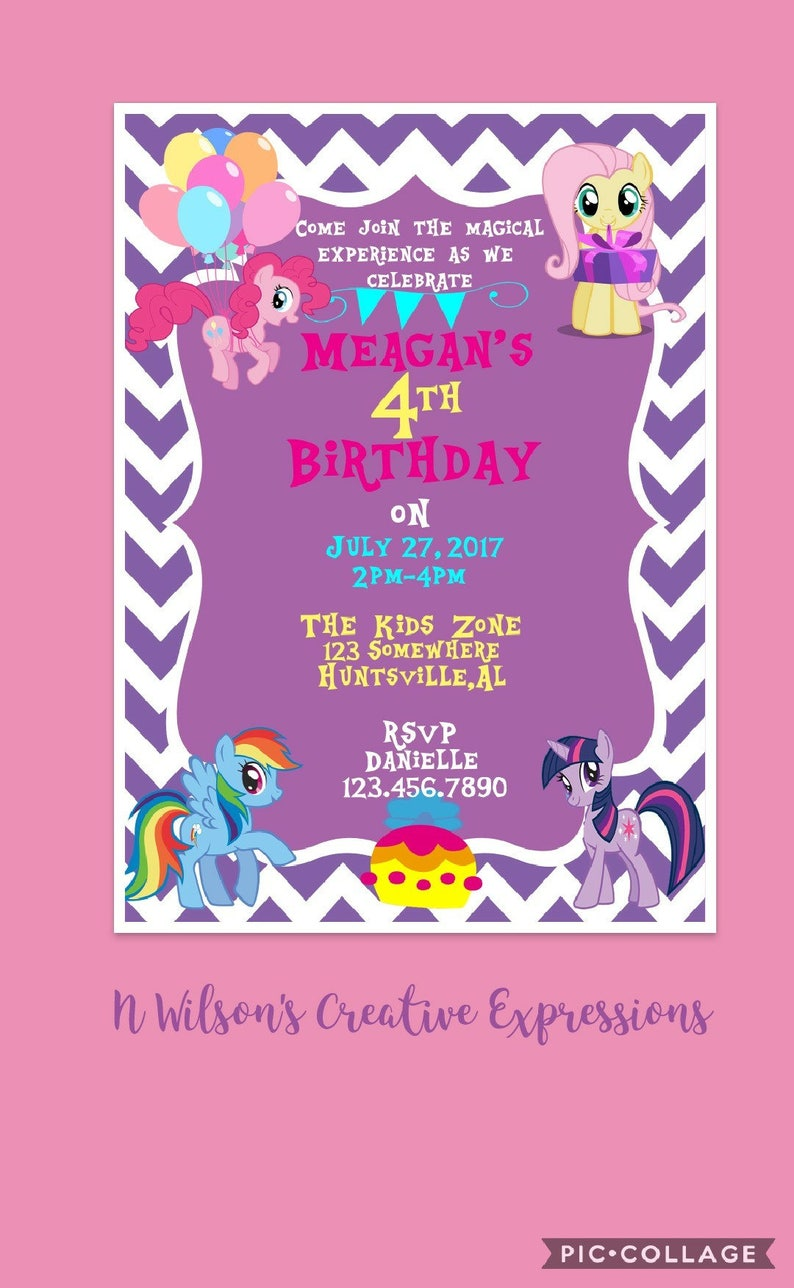 My Little Pony 1st 2nd 3rd 4th Birthday Party Invitation