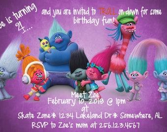 Super Cool Fun Troll Birthday Party Invite