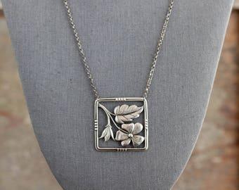 Vintage Sterling Flower Necklace, Vintage Sterling Necklace, Vintage Sterling Jewelry