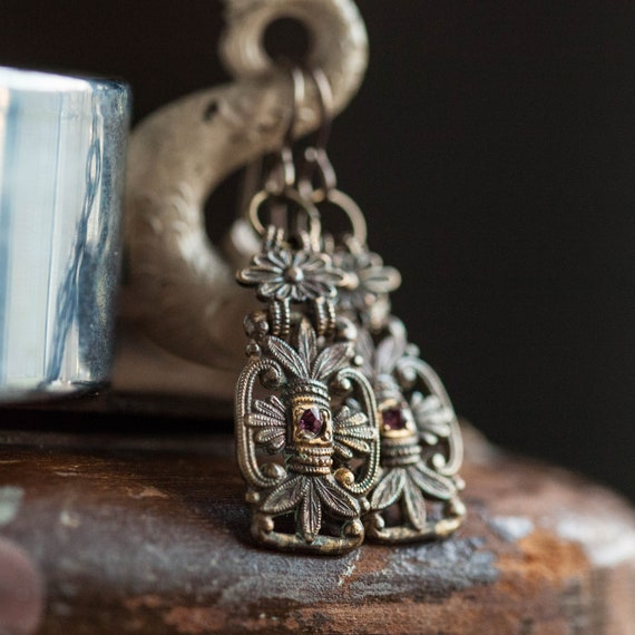 Antique Floral Earrings, Victorian Floral Earring… - image 2