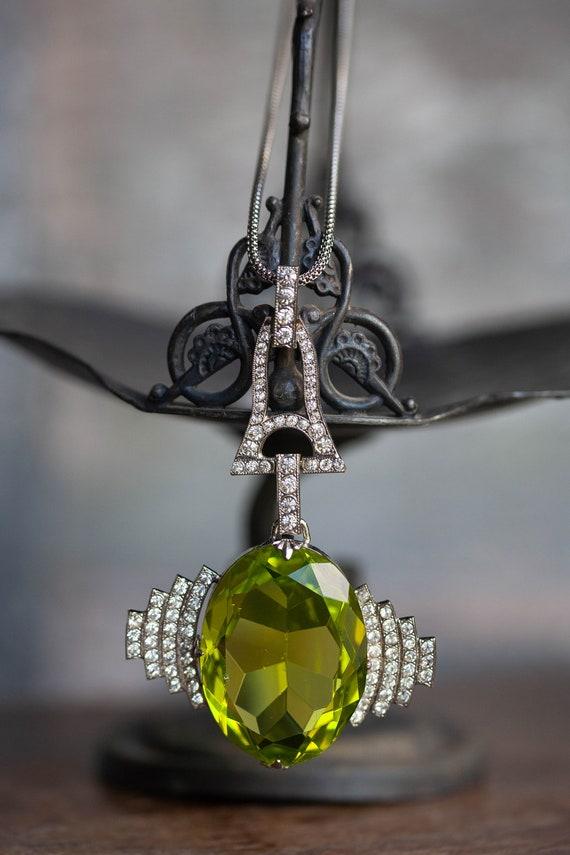 HUGE Art Deco Pendant, 1920's Deco Pendant, Lime … - image 2