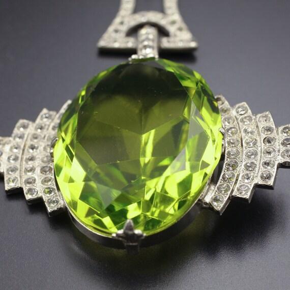 HUGE Art Deco Pendant, 1920's Deco Pendant, Lime … - image 4