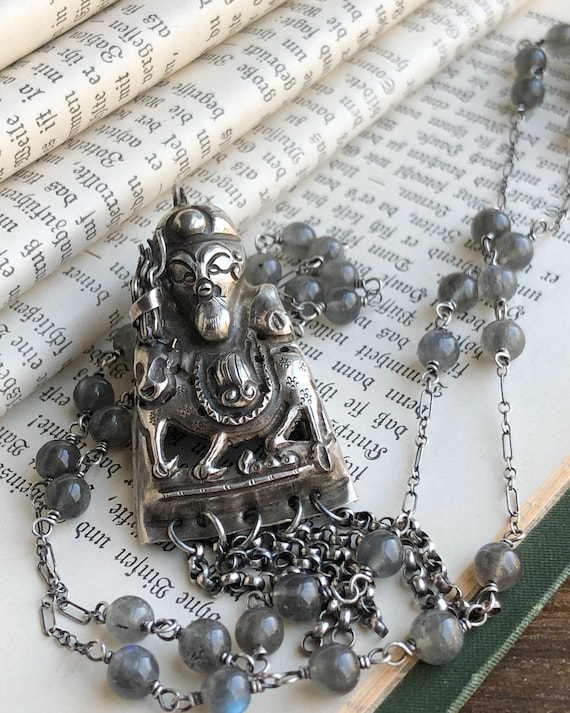 Antique Chinese Sterling & Labradorite Necklace, A