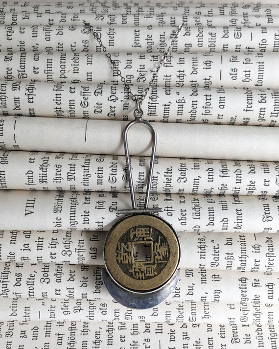 Vintage Chinese Coin Sterling Pendant, Vintage Chi