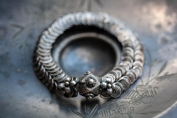Vintage Sterling Coiled Ethnic Bracelet, Vintage S