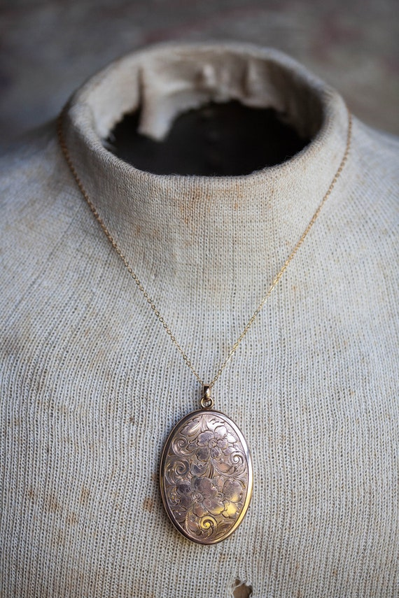 Victorian Gold Filled Locket, Large Oval Victorian