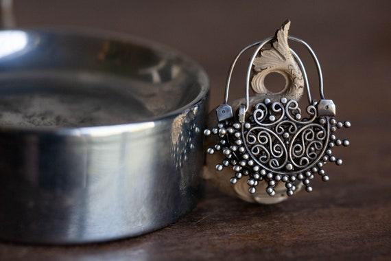 Vintage Sterling Indian Earrings, Vintage Ethnic I