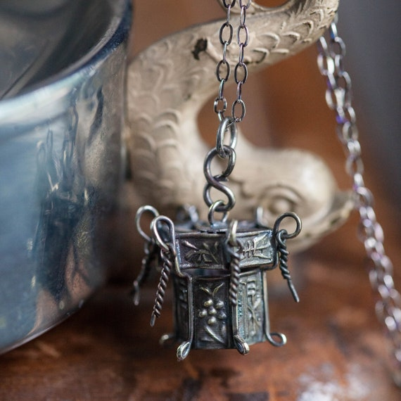 Chinese Export Silver Lantern Charm, Sterling Chin