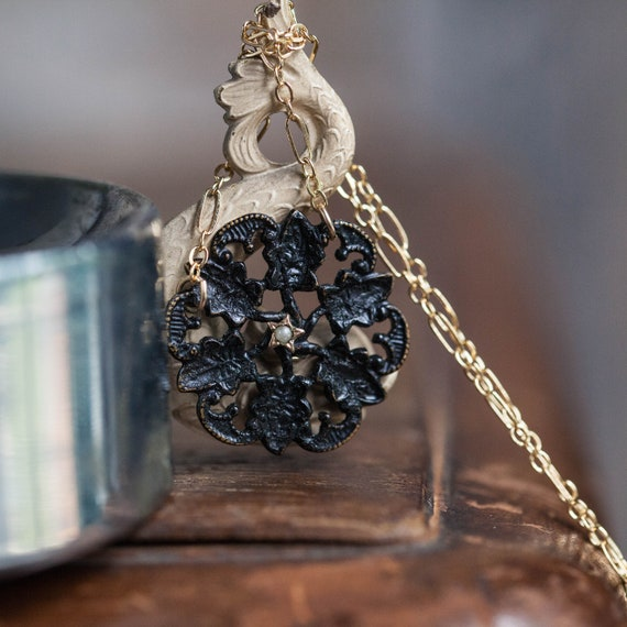 Antique Mourning Necklace, Antique Star Necklace,