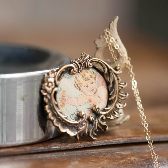 Art Nouveau Gold Filled Photo Pendant, Antique Pho