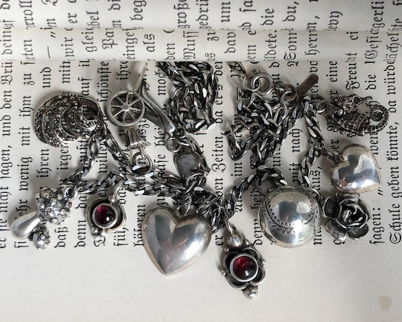 Vintage Sterling Silver Garnet Charm Necklace, Vin