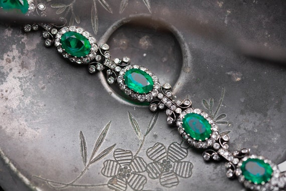 RARE Early Vintage Kramer Emerald Paste Bracelet,