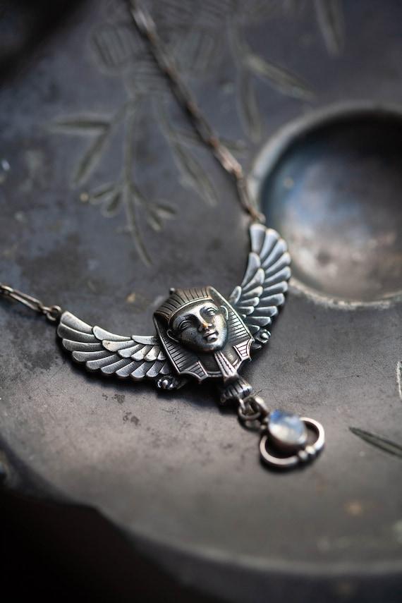 Art Deco Egyptian Revival Necklace, Egyptian Neckl