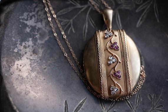 1800's Diamond & Ruby Locket, Russian Antique Lock