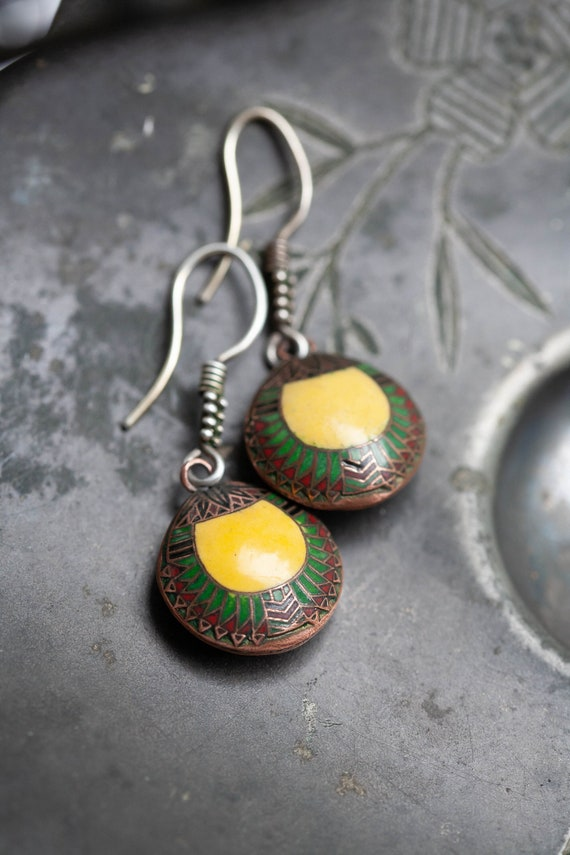 Vintage Egyptian Enamel Earrings, Vintage Egyptian