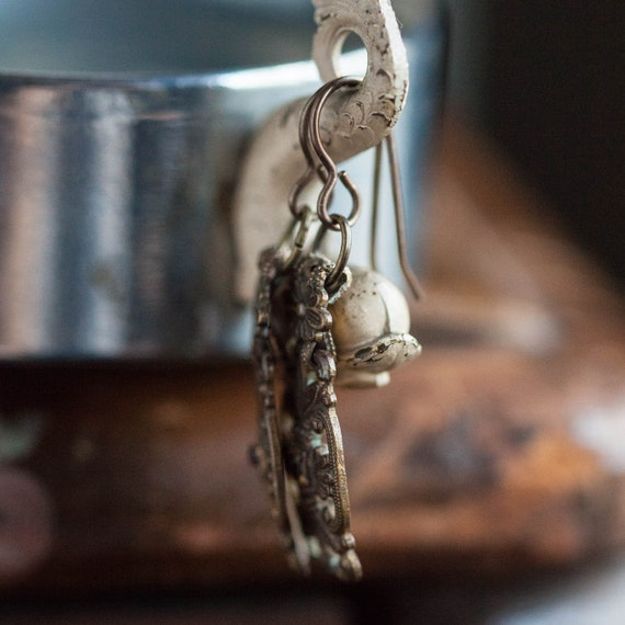 Antique Floral Earrings, Victorian Floral Earring… - image 3