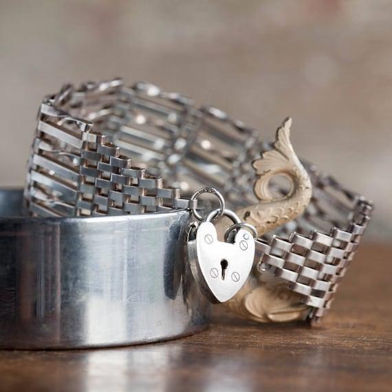 WIDE Vintage Sterling English Gate Bracelet, Vinta