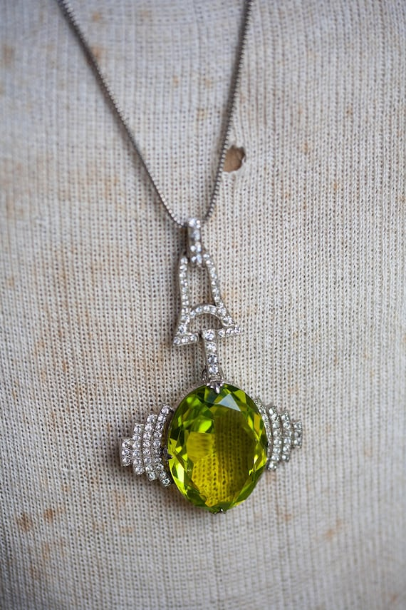 HUGE Art Deco Pendant, 1920's Deco Pendant, Lime G