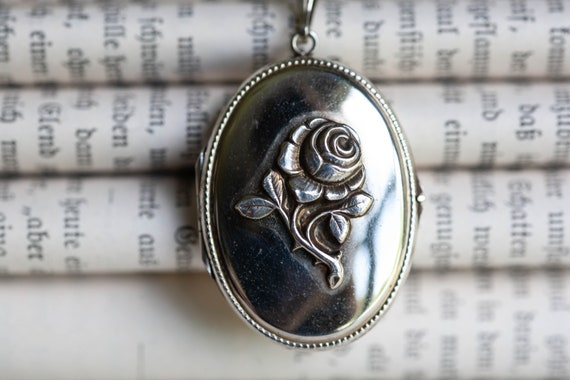 Vintage White Gold Filled Rose Locket, Vintage Ros