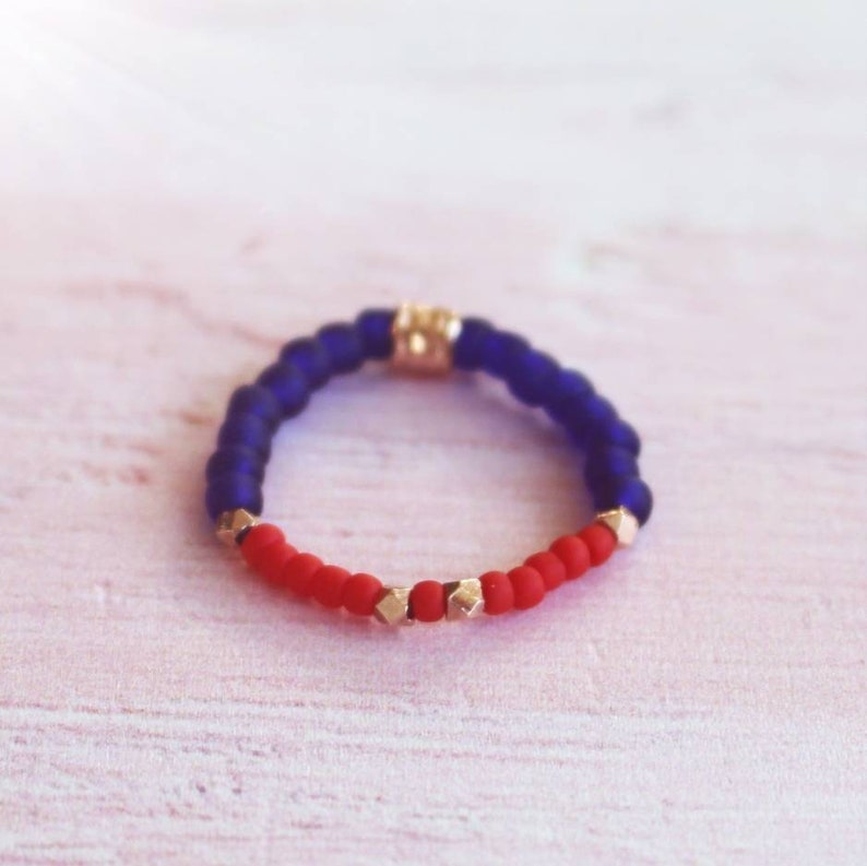 Thumb Ring Stacking Ring Rose Gold Red and Blue Bead Ring Handmade Stretch Ring Sparkle Ring, Beaded Ring