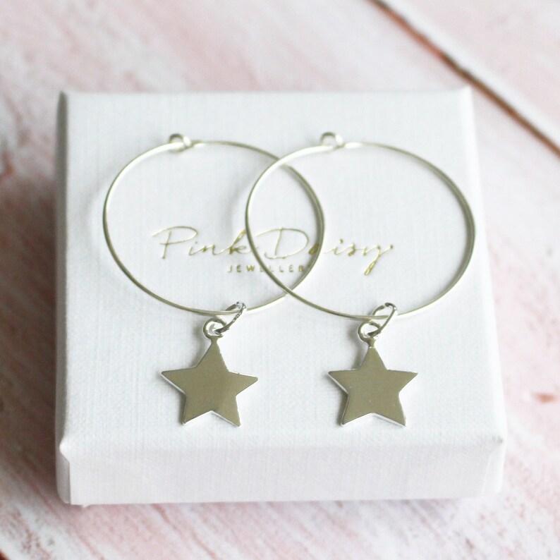 Gift for Her, Jewellery Gift 925 Sterling Silver Star Hoop Earrings Silver Earrings