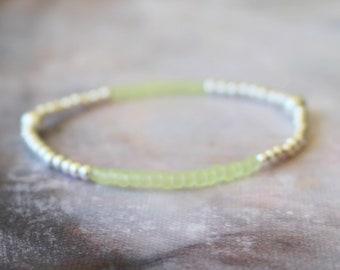 Lime Green Bracelet, Beach Bracelet, 925 Sterling Silver Bracelet, Seed Bead Bracelet, Lime Green Bracelet, Boho Bracelet