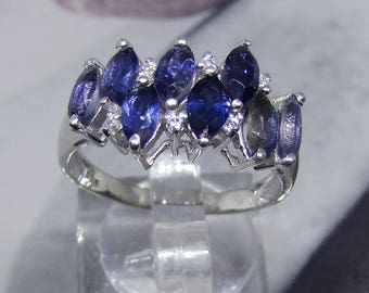 """""""Design"""" silver ring and Iolite (gemstone) size 58"""