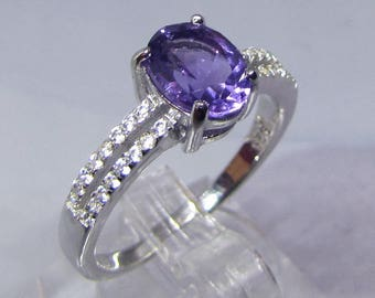 Ring silver decorated end of the Amethyst size 58