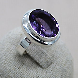 Dainty Ring Purple Quartz Ring Purple Ring Zodiac Ring Boho Ring Real Amethyst Sterling Silver Ring Oval Ring Aquarius Gift