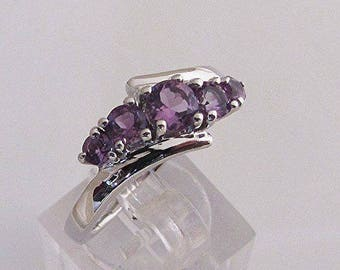 Plastic ring in silver and Amethyst size 52
