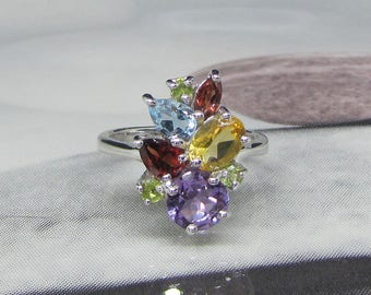 Ring women 925 sterling silver and Amethyst Topaz Citrine Peridot Garnet stones natural size 50 ring Art deco style, Vintage ring