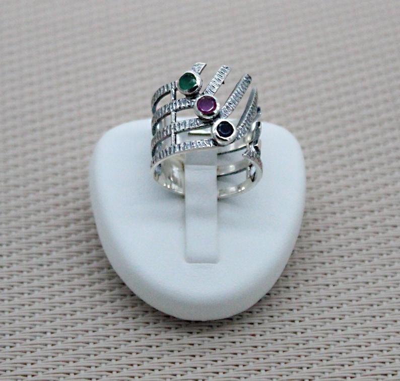 Silver Ring Women Silver Multiple Stone Ring Silver Jewelry Stones Semi Open Silver Ring Ornate Ring Birthstone Ring Zodiac Ring