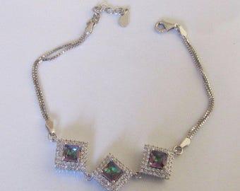 Square Mystic Topaz and sterling silver bracelet