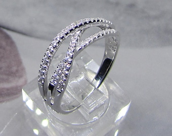 Rhodium plated 925 Sterling Silver CZ ring. White Silver Womens jewelry