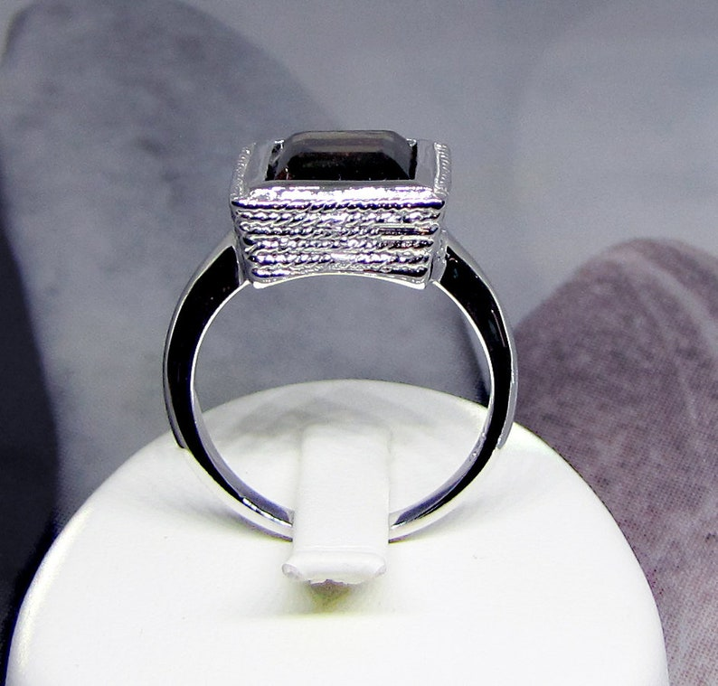 Translucent Semi Precious Gemstone Jewelry Ring Topaz Brune Silver 925 Rhodium plated Christmas and New Year/'s Eve Gift for Women