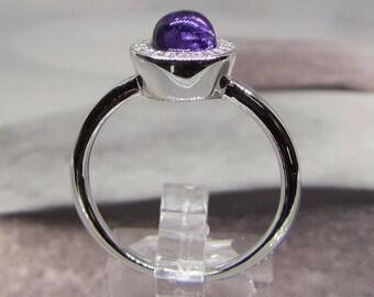 Ring silver Quartz purple (Amethyst) size 56