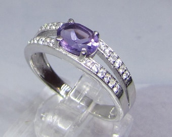 MIDI ring silver Amethyst size 50